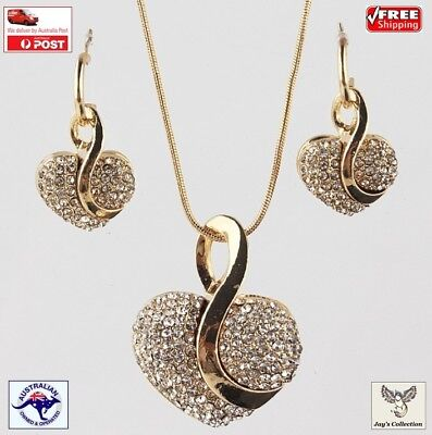 Fashion Yellow Gold Plated Heart Crystal Necklace Earring Jewelry Set [A9V2~B9]