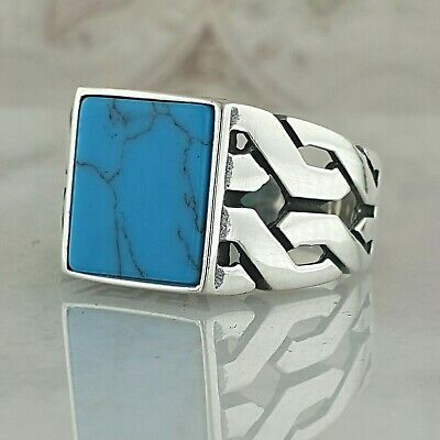 Turquoise Gemstone Solid Turkish 925 Sterling Silver Men Ring