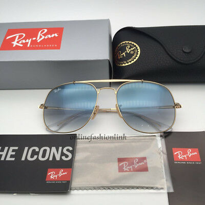 New General Ray-Ban Sunglasses Rb3561 001/3F Gold Frame/blue Gradient Lens 57Mm
