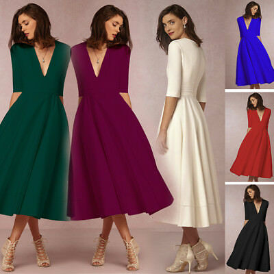 UK Womens V Neck Ball Gown Formal Cocktail Evening Party Skater Long Swing Dress