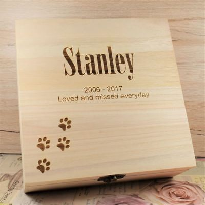 Personalised Pet Memorial Box Memory Box Wooden Keepsake Box Ashes Casket - Paws
