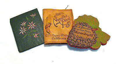 Vintage Needle Book Lot Of 3 Leather 2 Advertising Will Rogers State Park Syboll