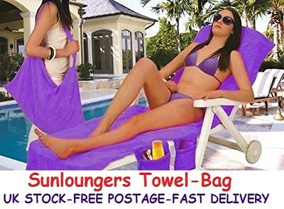 Toweling Sunbed Covers Sunloungers Bag Beach Towels Swimming Pool Travel Gifts