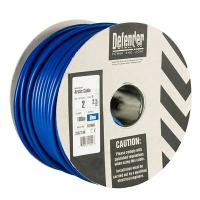 Defender 100MTR Drum - 2.5mm 2 Core Blue HO5 VV-F Cable 240V (CLEARANCE)