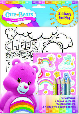 Care Bears Colouring Set Childrens Activity Stickers Party Favour Gift