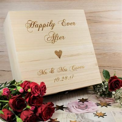 Wedding Memory Box Personalised Engraved Wooden Keepsake Box - Ever After