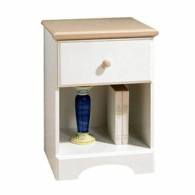 South Shore Furniture Summertime Collection Night Stand in Pure White/Maple