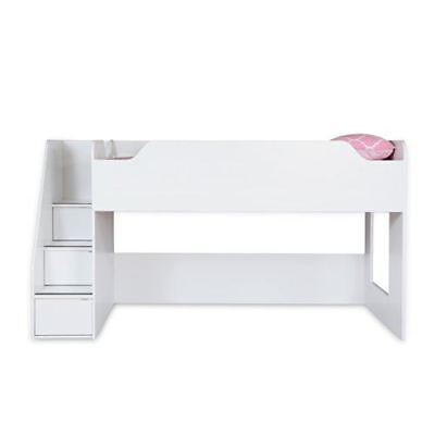 South Shore Mobby Twin Loft Bed with Stairs, 39-Inch, Pure White