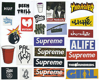 Supreme Classic Box Logo 25 X Skateboard Stickers Car Vinyl Decal Laptop Sticker