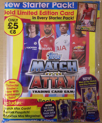 Topps Match Attax EPL 2017/18 ~ Starter Pack ~ Inc Binder, Gold Limited Edition