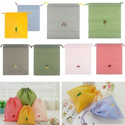 Waterproof Laundry Shoe Travel Pouch Tote Drawstring Storage Bag Organization SY
