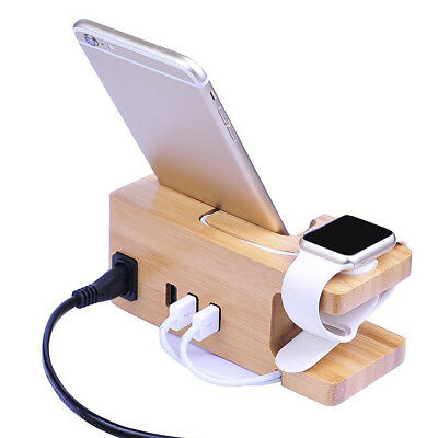 2-in-1 Bamboo Wood Charging Dock Station Stand Holder for Apple Watch Phone 6 7