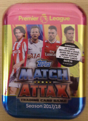 Topps Match Attax EPL 2017/18 ~ Collectors Mini Tin Inc 45 Cards Inc Limited Ed