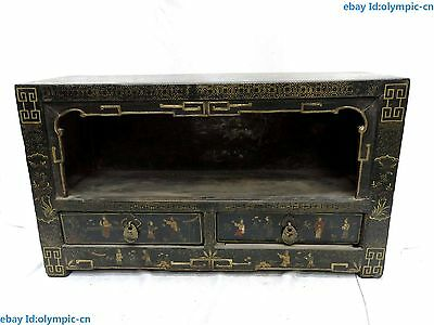 """23"""" China old handwork wood lacquerware  Beautiful tea table Cabinet Statue"""