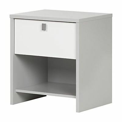 South Shore Furniture 10513 Cookie 1 Drawer Nightstand, Soft Gray & Pure White