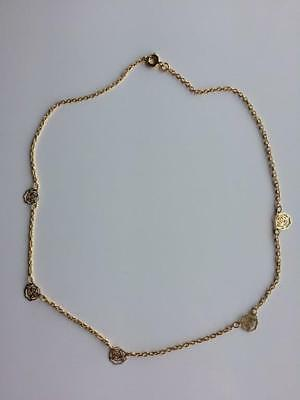 Vintage Dainty Gold Tone Chain Necklace with Roses