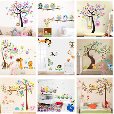 Nursery Removable Animal Tree Wall Sticker For Kids Room Home Decor Vinyl Art SY