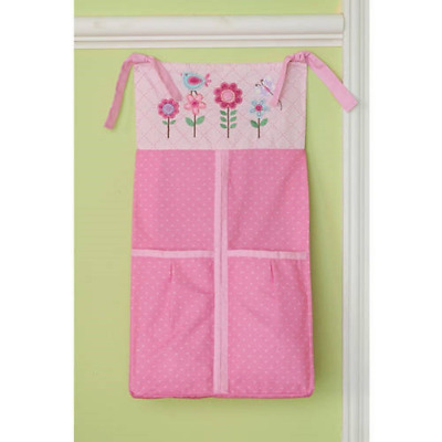 Hearts At Home Girls Baby Diaper Stacker Pink Flowers and Hearts
