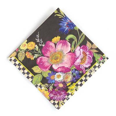 MacKenzie-Childs Flower Market Paper Napkins - Cocktail - Black (20 per Pack)