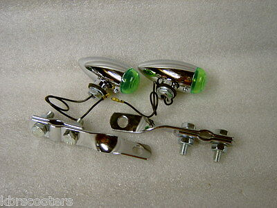 2 Chrome Bullet Spot Lights With Green Lens And Twisted Brackets Fit Lambretta
