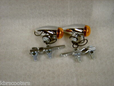 2 Chrome Bullet Lights Pair With Amber Lens And Brackets Fits Lambretta,vespa R