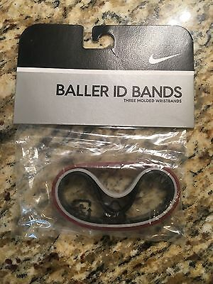 NEW Nike Baller ID Bands, 3-pack Black, Gray, Burgundy - Silicone Bracelets