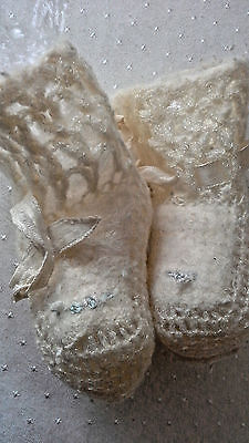 Vintage Crocheted Baby Booties circa 1940's Off White Ivory w/ Blue Flowers