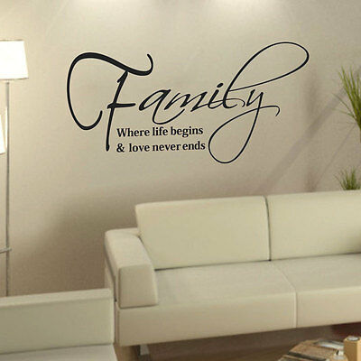Family Love Quote Removable DIY Art Vinyl Wall Sticker Decal Mural Home Decor