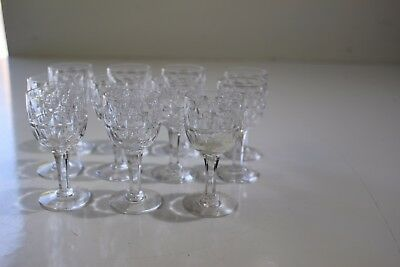 11 small crystal cordial glasses