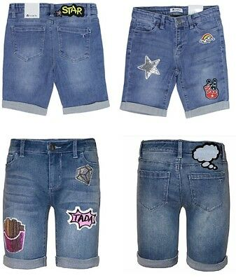 Tractr Girls Sequined Patched Stretch Denim Bermuda Shorts