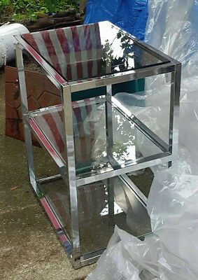 Vintage Mid Century Modern 3 Tier Removable Glass and Chrome Shelf