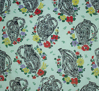 vintage 1950s French vases & floral print cotton interiors fabric