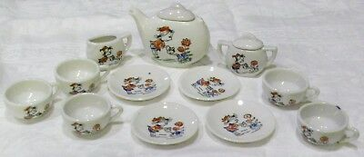 Vtg LOT 14pcs CHILD SIZE DISHES Made Japan LITTLE GIRL with HAT Watering Flowers