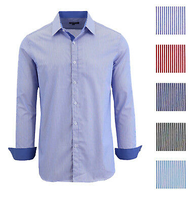 Mens Long Sleeve Button Down Dress Causal Shirt Solid Pinstripe Slim Fit NWT