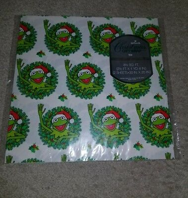 New vintage Hallmark Wrapping Paper Gift Wrap The Muppets Kermit Frog Christmas
