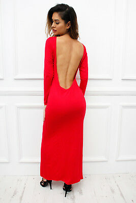 UK New Low Back Backless Long Sleeve Maxi Dress Red Womens Ladies Sexy Bodycon