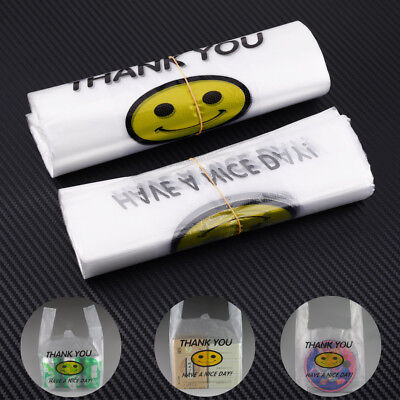 100Pcs Supermarket Grocery Shopping Bags Carry Out Retail Plastic Smile 30x20cm