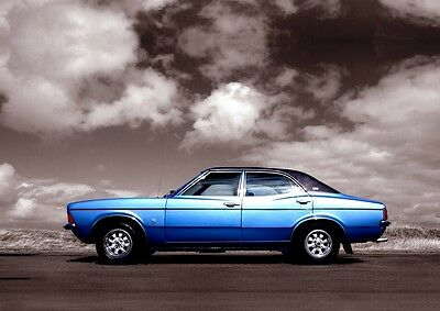 MK3 Ford Cortina Poster, classic car wall Art  A4 Print -  MKIII Cortina - Blue