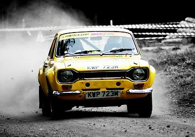 MK1 Ford Escort Poster - classic Rally car wall Art - Print  - Yellow
