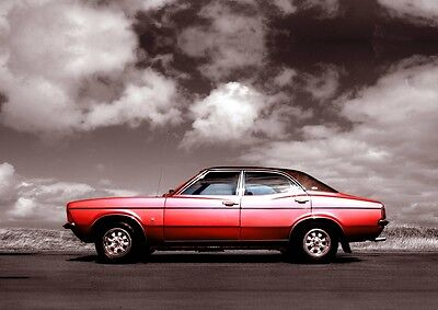 MK3 Ford Cortina Poster, classic car wall Art  A4 Print -  MKIII Cortina - Red