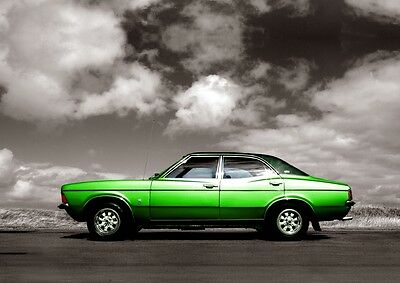 MK3 Ford Cortina Poster, classic car wall Art A4 Print - MKIII Cortina - Green