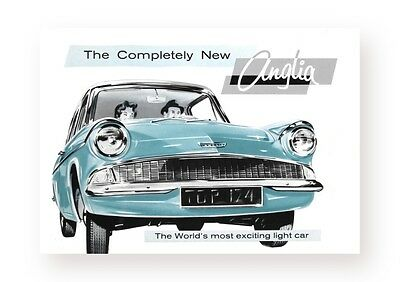 Ford Anglia Poster, 105E classic car wall Art Print -   Harry Potter Car , 1959
