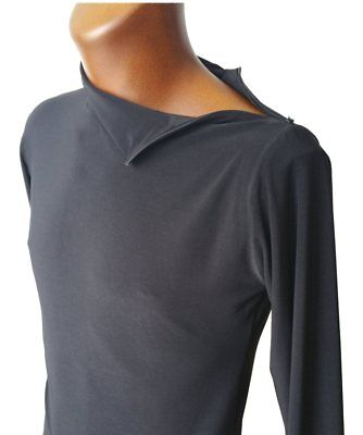 Mens Stretchy Polo Neck Top With Zip On Shoulder. Black