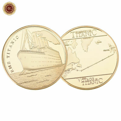 WR The Voyage of Titanic Coin 24K Gold Clad Medal Ship Map Souvenir Gifts Mom