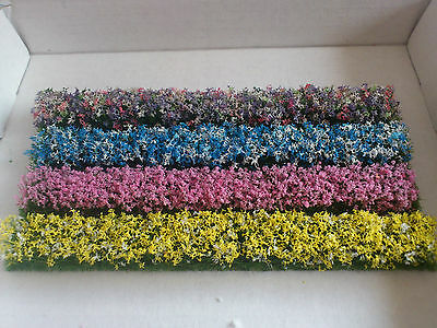 4 Tall Flower strips for Model Railway/Dioramas/Scenery