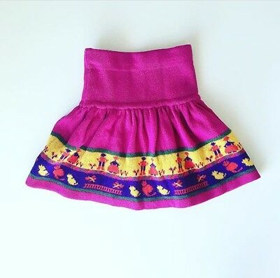 90s Fuchsia Benetton High Waist Folklore Wool Sweater Skirt 3T 4T FREE SHIP