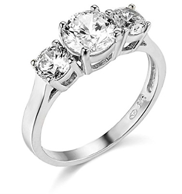 1.70 Ct Round Cut 3-Stone Past Present Future Ring Real Solid 14K White Gold
