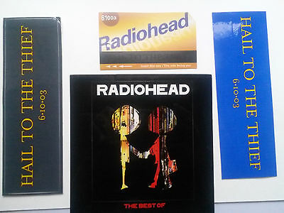 Radiohead- Hail to theThief 3 Promo items+BEST OF sticker  4stickers rare unused