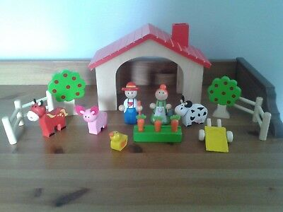 Wooden Farm Animals Fence Trees Farmer And His Wife