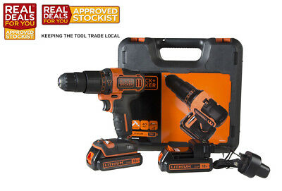 Black & Decker 18V Combi Drill with 2 x 1.5Ah Li-Ion Batteries XMS17CORDLES